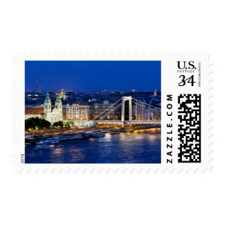 City of Budapest at Night Postage Stamp