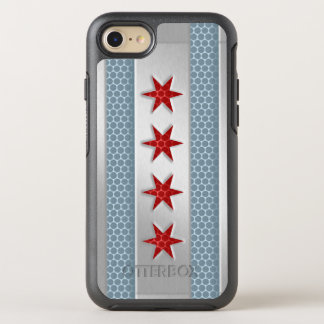 City of Chicago Flag Brushed Metal Look OtterBox Symmetry iPhone 7 Case