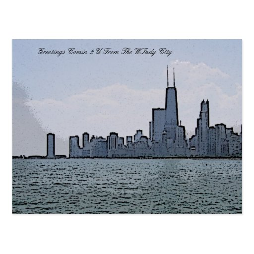 City of Chicago & Lake Michigan Sketch Postcard