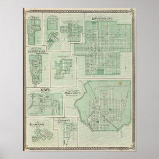 City of Columbus, Bartholomew Co with Greensburg Poster