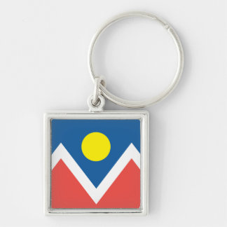 City of Denver flag Silver-Colored Square Keychain