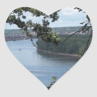 City of Dubuque, Iowa on the Mississippi River Heart Sticker