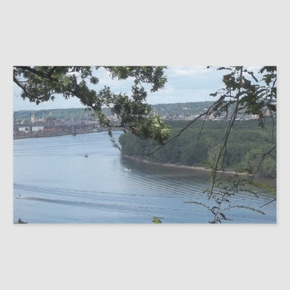 City of Dubuque, Iowa on the Mississippi River Rectangular Sticker