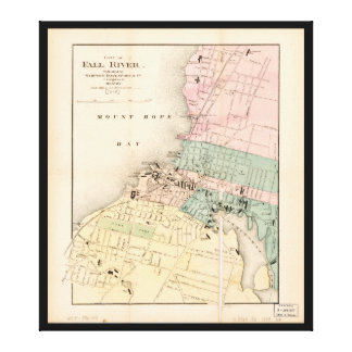 City of Fall River, Massachusetts Map (1874) Canvas Print