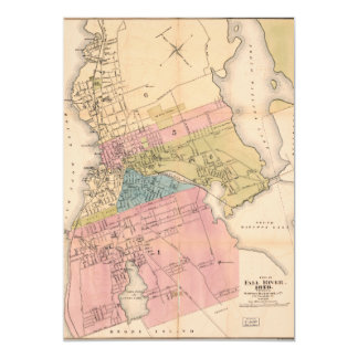 City of Fall River Massachusetts Map (1878) 5x7 Paper Invitation Card