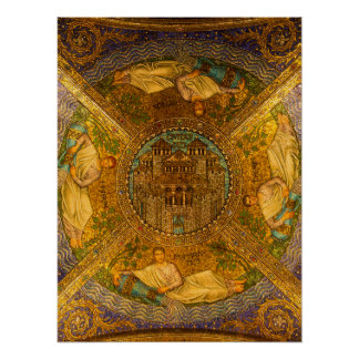 City of God Neo Byzantine mosaic cathedral ceiling Poster