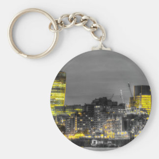 City of London at night Basic Round Button Keychain
