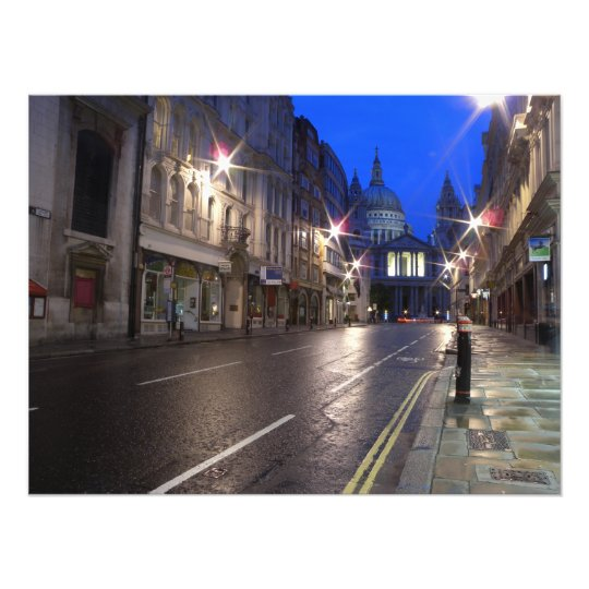 City of London at Night - Street Side Photo Print