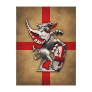 City of London Dragon on Old English Flag Canvas Print