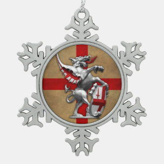 City of London Dragon Snowflake Pewter Christmas Ornament