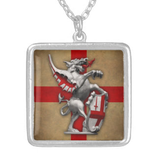 City of London Dragon Square Silver Necklace