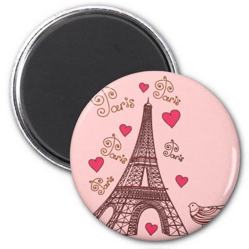 City of Love Paris 2 Inch Round Magnet