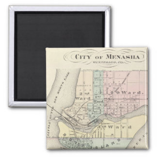 City of Menasha, City of Neenah 2 Inch Square Magnet
