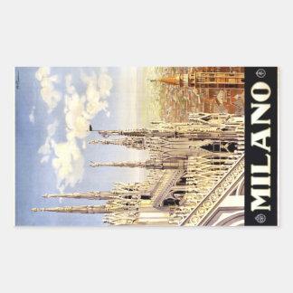 City of Milan Italian Travel Poster 1920 Rectangular Sticker
