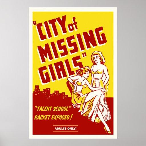 """City of Missing Girls"" Vintage Movie Poster"