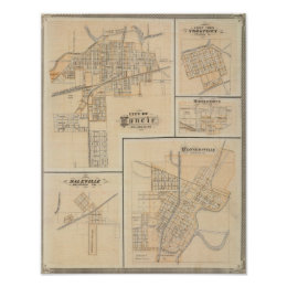 City of Muncie, Delaware Co with Yorktown Poster