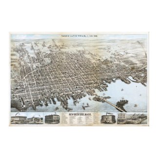 City of New Bedford Massachusetts (1876) Stretched Canvas Print