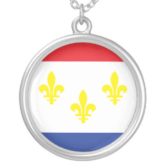 City of New Orleans flag Silver Plated Necklace