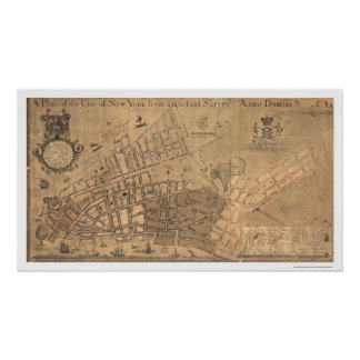 City Of New York Map 1755 Poster