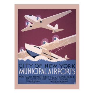City of New York municipal airport Postcard