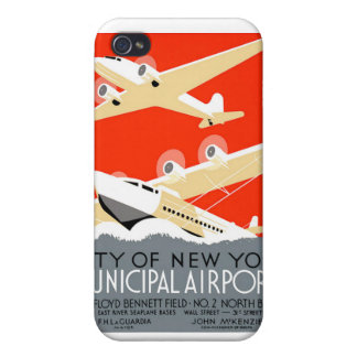 City of New York Municipal Airports Vintage Poster iPhone 4 Case