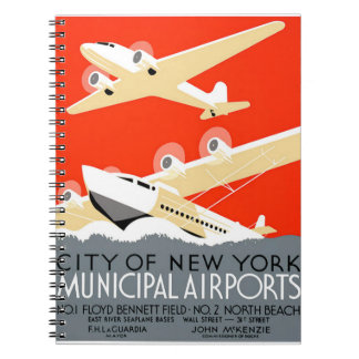 City of New York Municipal Airports Vintage Poster Spiral Notebook