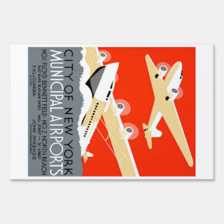 City of New York Municipal Airports Vintage Poster Sign