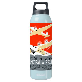 City of New York Municipal Airports Vintage Poster Thermos Bottle
