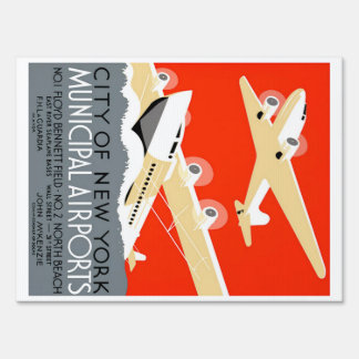 City of New York Municipal Airports Vintage Poster Yard Sign