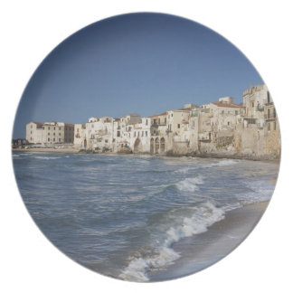 City of old buildings on beach dinner plate