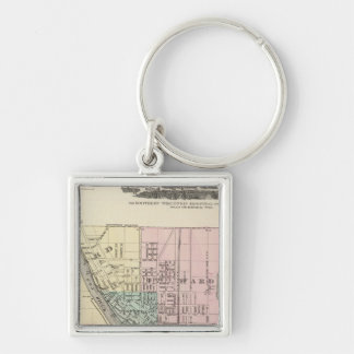 City of Oshkosh, county seat of Winnebago Co Silver-Colored Square Keychain