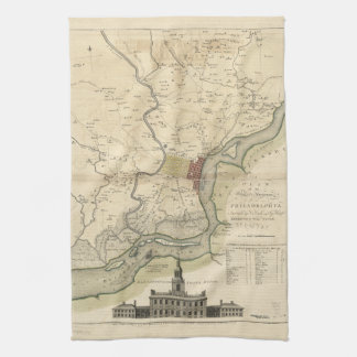 City of Philadelphia Pennsylvania Map (1777) Hand Towels
