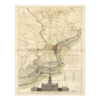 City of Philadelphia Pennsylvania Map (1777) Letterhead