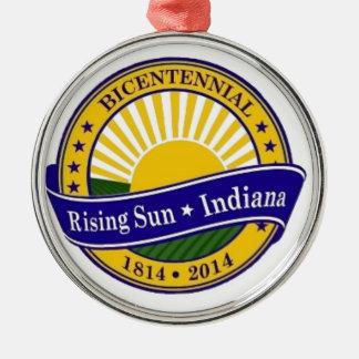 City of Rising Sun Indiana bicentennial Logo Metal Ornament