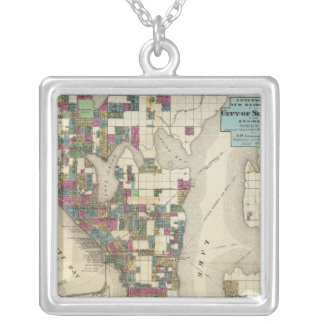 City Of Seattle And Environs Square Pendant Necklace