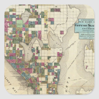 City Of Seattle And Environs Square Sticker