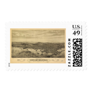 City of Seattle Puget Sound Washington Map (1878) Postage