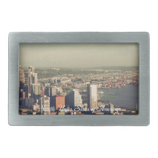 City of Seattle. View from city tower. Landscape Rectangular Belt Buckles