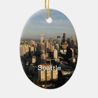City of Seattle. View from city tower. Landscape Ceramic Ornament