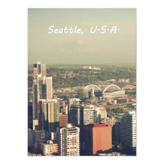 City of Seattle. View from city tower. Landscape 5.5x7.5 Paper Invitation Card