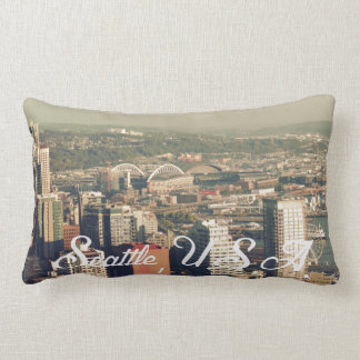 City of Seattle. View from city tower. Landscape Lumbar Pillow