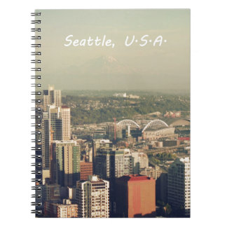 City of Seattle. View from city tower. Landscape Spiral Notebooks