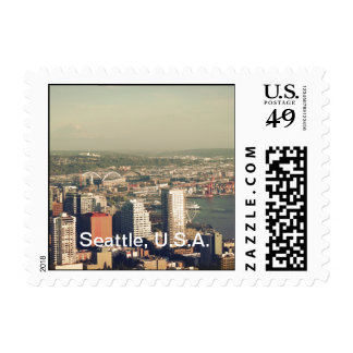City of Seattle. View from city tower. Landscape Postage