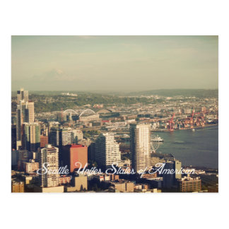 City of Seattle. View from city tower. Landscape Postcard