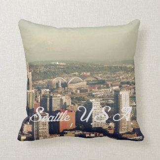 City of Seattle. View from city tower. Landscape Throw Pillow