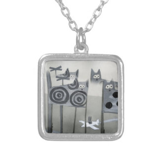 city of silly cats square pendant necklace