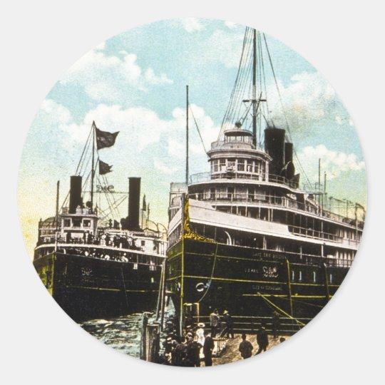City of St. Ignace & City of Cleveland, D&C Line Classic Round Sticker