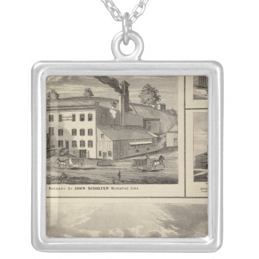 City of Storm Lake brewery, Muscatine bldg Square Pendant Necklace