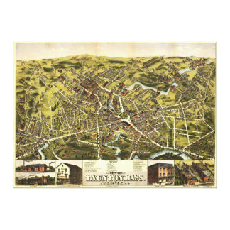 City of Tauton Massachusetts (1875) Stretched Canvas Print