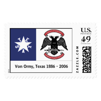 CITY OF VON ORMY FLAG, Von Ormy, Texas 1886 - 2006 Stamps